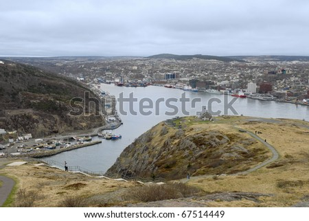 Aerial view of the harbour of St.John's, Newfoundland, Canada - stock photo