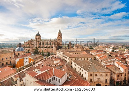 Aerial view of the historic city of Salamanca at sunrise, Castilla y Leon region, Spain - stock photo