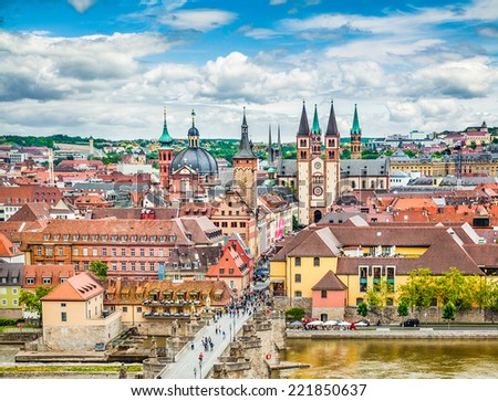 Aerial view of the historic city of Wurzburg with Alte Mainbrucke, region of Franconia, Northern Bavaria, Germany - stock photo