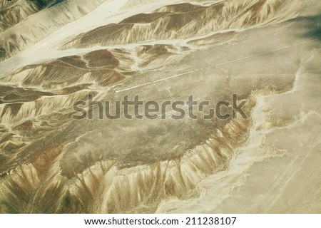 Aerial View of The Hummingbird at Nazca Lines valley in Peru - stock photo