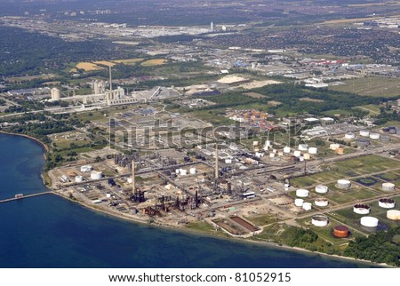 Aerial view of the industrial  Refinery  area on lake Ontario shore line near Mississauga, Ontario Canada - stock photo