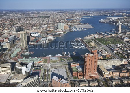 Aerial view of the Inner Harbor in Baltimore, Maryland. - stock photo