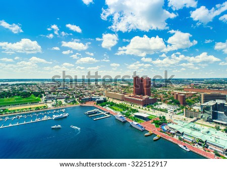 Aerial view of the Inner Harbor of Baltimore, Maryland  - stock photo