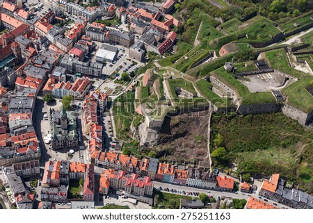 aerial view of  the Klodzko city historic fortress  in Poland - stock photo