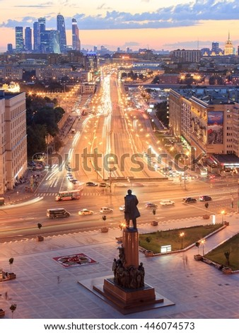 Aerial view of the Krymsky Val street, Moscow - stock photo