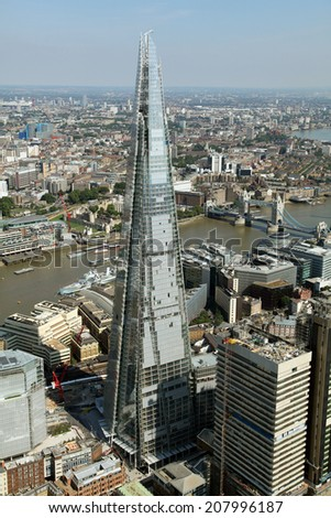 aerial view of the London skyline including The Shard - stock photo