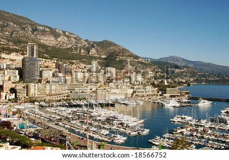 Aerial view of the marina in Monte Carlo - stock photo