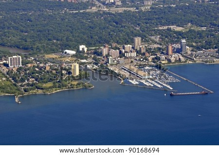 aerial view of the marina in Port Credit, Ontario Canada - stock photo