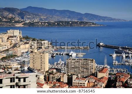 Aerial view of the Mediterranean coastline of Monte Carlo in Monaco. - stock photo