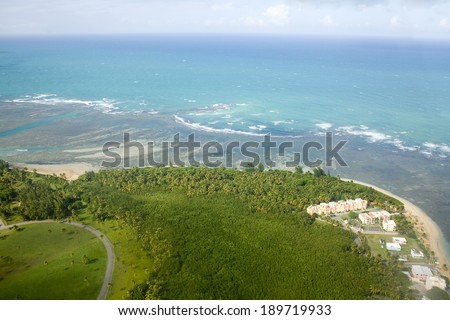 Aerial view of the Northeast side of Puerto Rico.  Shown is the area North of Rio Grande and East of Loiza. - stock photo