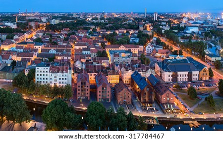 Aerial view of the Old town district. Klaipeda city in the evening time. Klaipeda, Lithuania. - stock photo