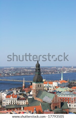 Aerial view of the old town (Riga, Latvia) - stock photo
