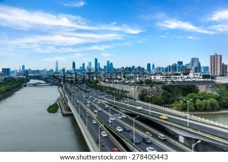 aerial view of the overpass at shagnhai china. - stock photo