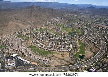 Aerial view of the planned community of Anthem, Arizona - stock photo
