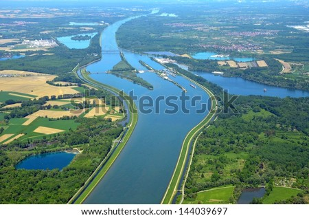 aerial view of the Rhine the natural border between France and Germany, near Iffezheim, Baden - stock photo