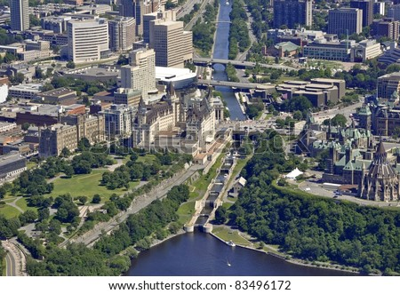 aerial view of the Rideau Canal Waterway locks in Ottawa near the Parliament buildings; Ottawa, Ontario Canada - stock photo