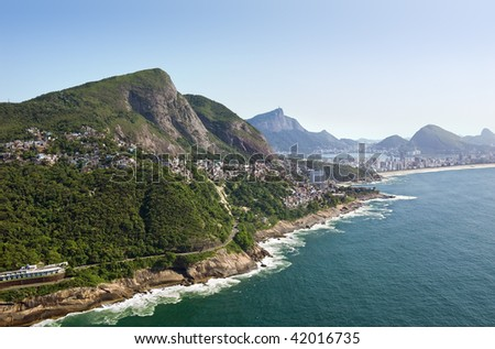 Aerial view of the Rio De Janeiro Coast - stock photo