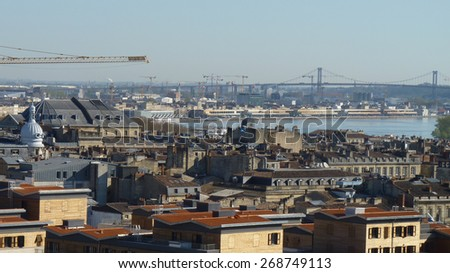 Aerial view of the river Garonne at Bordeaux, - stock photo