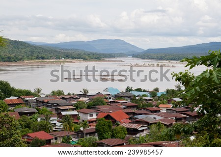 Aerial view of the riverside village of Khong Chiam in Thailand  - stock photo