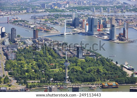 Aerial view of the Rotterdam skyline, the Netherlands - stock photo
