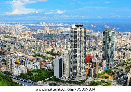 Aerial view of the Shin-Kobe district in Downtown Kobe, Japan. - stock photo