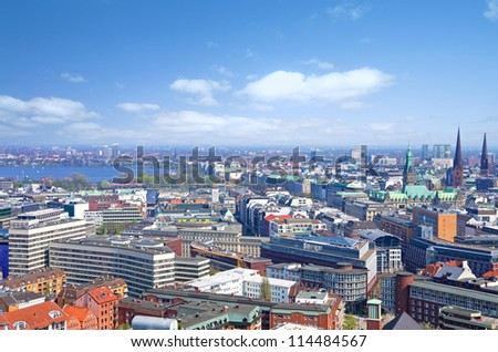 aerial view of the skyline of hamburg with alster - stock photo