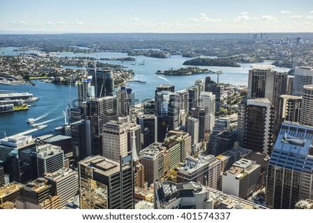 Aerial view of the skyline of Sydney, Australia - stock photo