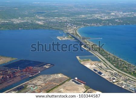 aerial view of the Skyway Bridge in Hamilton, Ontario; Burlington ON in the background - stock photo