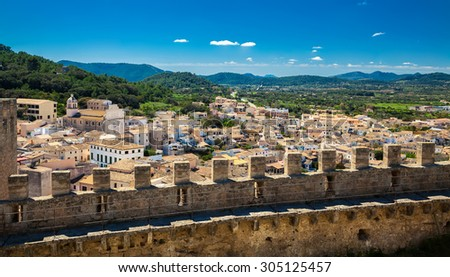 aerial view of the small town Capdepera in Majorca, Spain - stock photo