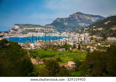 aerial view of the small town Port de Soller, Majorca, Spain - stock photo