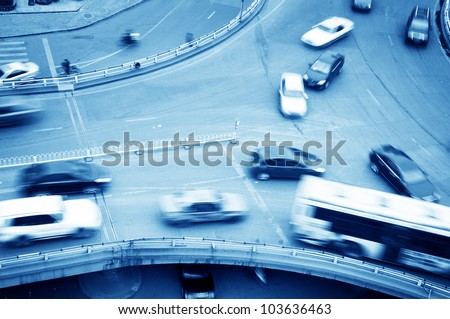 Aerial view of the Stack Interchange? lots of car in motion - stock photo