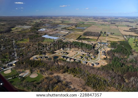 Aerial view of the suburb in southern Ontario - stock photo