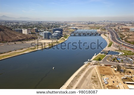 Aerial view of the Tempe Town Lake with downtown Phoenix, Arizona in the background - stock photo