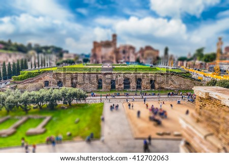 Aerial view of the Temple of Venus in Roman Forum, Rome, Italy. Tilt-shift effect applied - stock photo