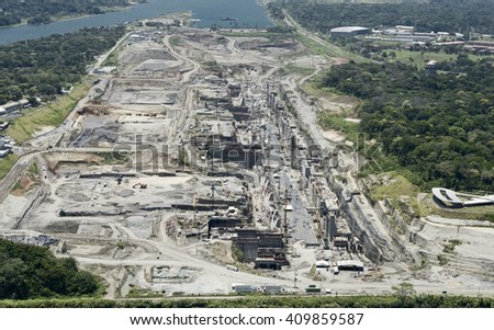 Aerial view of the Third Set of Locks construction site, Panama Canal, Panama - stock photo