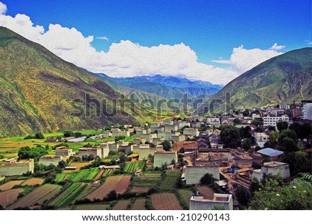 Aerial view of the tibetan village of Xiancheng, sichuan province, China, stylized and filtered to look like an oil painting  - stock photo