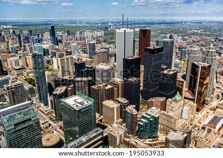 Aerial view of the Toronto skyline - stock photo
