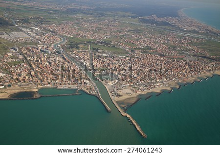 aerial view of the Tyrrhenian coastline and Fiumicino town, near Roma, Lazio, Italy - stock photo