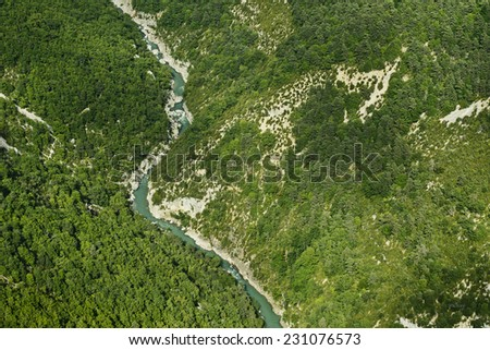 """Aerial view of the """"Verdon"""" River in France - stock photo"""