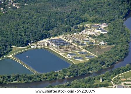 aerial view of the water treatment plant near Kitchener-Waterloo, Ontario Canada - stock photo
