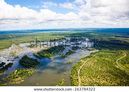 Aerial view of the Zambezi river right before Victoria Falls - stock photo