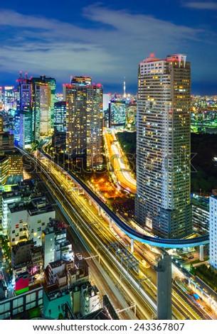 Aerial view of Tokyo skyscrapers, Hamamatsucho, Minato, Japan - stock photo