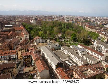 Aerial view of Torino, Italy - stock photo