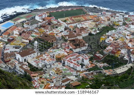 Aerial view of Town Garachico, Canary Island Tenerife, Spain - stock photo