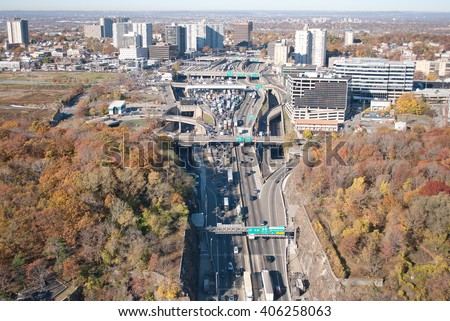 Aerial view of traffic approaching the George Washington Bridge toll plaza, Fort Lee, NJ  - stock photo