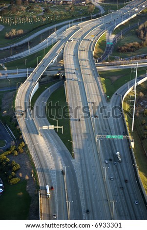 Aerial view of traffic on Dan Ryan Expressway in Chicago, Illinois. - stock photo