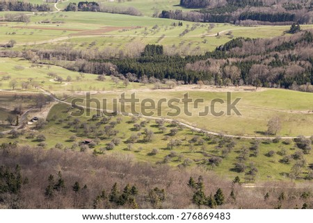 Aerial View of Trees and Vegetation in Spring. Nature or Season Concept - stock photo