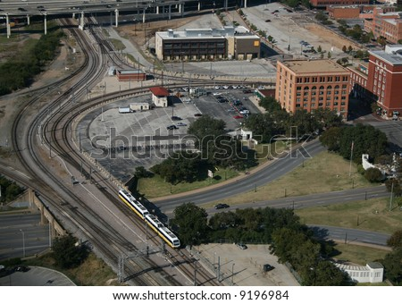 aerial view of Triple Underpass and Dealey Plaza Dallas Texas - stock photo