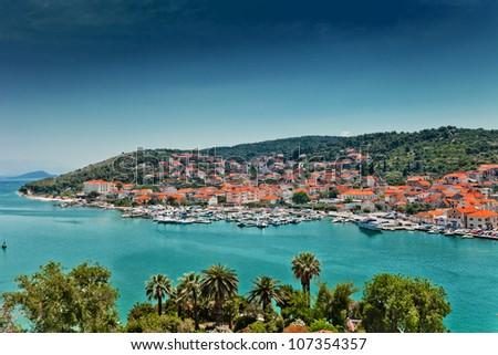 Aerial view of Trogir in Croatia - stock photo