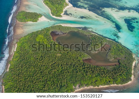 aerial view of tropical island in Maldives - stock photo